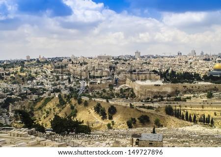 Skyline of the Old City in Jerusalem, Israel. - stock photo