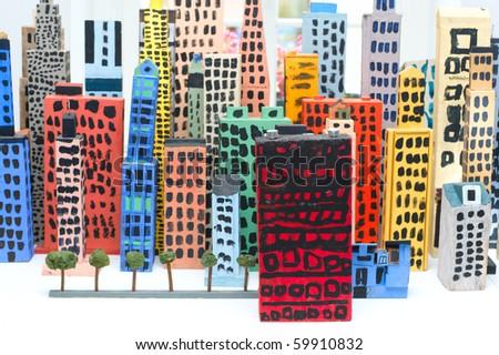 Skyline of wooden toy city - stock photo