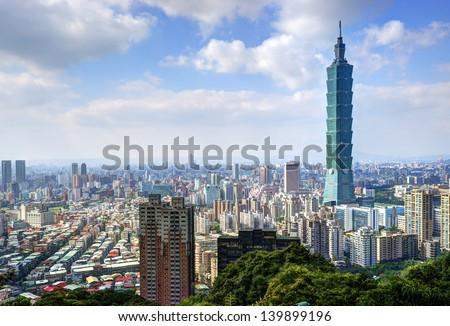 Skyline of Xinyi District in downtown Taipei, Taiwan. - stock photo