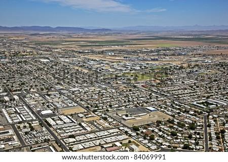 Skyline of Yuma, Arizona from the air - stock photo