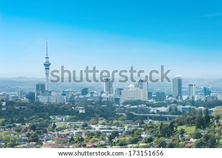 Skyline photo of the biggest city in the New Zealand, Auckland.  - stock photo