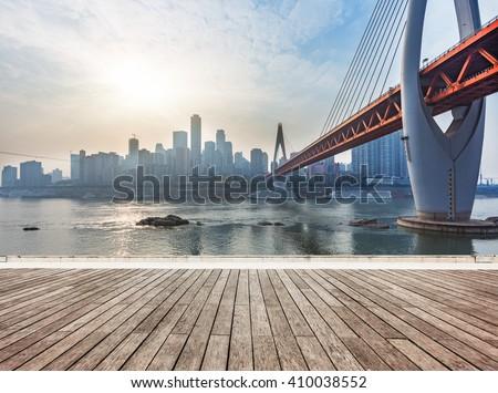 skyline,river and bridge during sunset,chongqing china. - stock photo