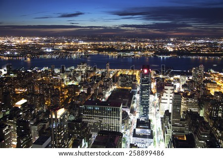 Skyline view of Hoboken and Weehawken from Manhattan - stock photo