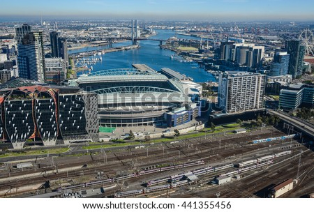 Skyline view of Melbourne and Docklands - stock photo