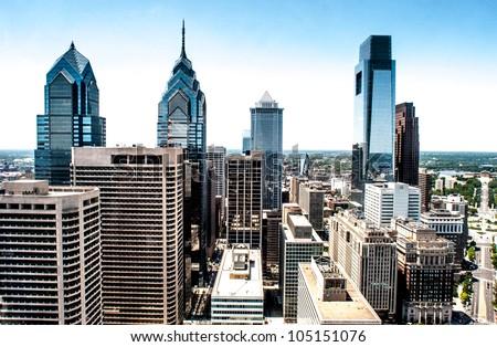 Skyline view of Philadelphia, PA  Aerial Photograph - stock photo