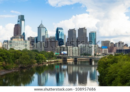 Skyline view of Philadelphia, Pennsylvania  - USA - stock photo