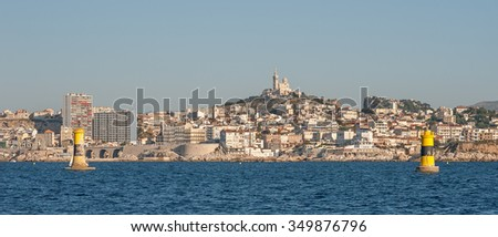 Skyline view of the city of Marseille in South France