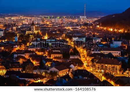 Skyline view over the Brasov city, Transylvania, Romania - stock photo