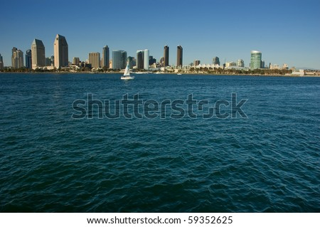 Skyline Waterscape San Diego Bay - stock photo