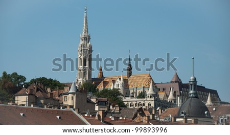 Skyline with different towers. Saint Matthias church and Fisherman bastion in Budapest, Hungary - stock photo