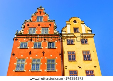 Skyline with Houses of Stortorget place in Gamla stan, Stockholm, Sweden - stock photo