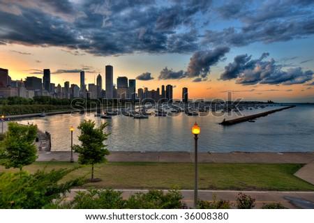 Skyline with Marina View - stock photo
