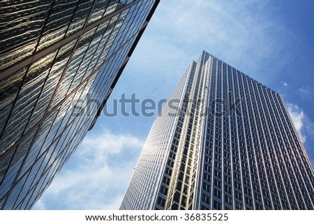 skyline within the streets of London - stock photo