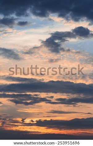 Skyscape with sunset clouds - stock photo