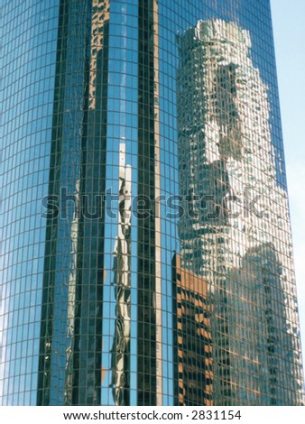 Skyscraper abstract reflection of Library tower Los Angeles - stock photo