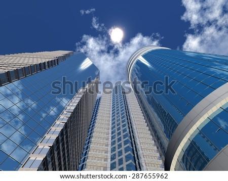 Skyscraper against the sky. - stock photo