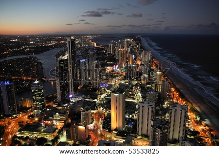 Skyscraper city - Surfers Paradise city in Gold Coast region of Queensland, Australia - stock photo