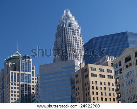 Skyscraper Cluster in Charlotte, NC - stock photo