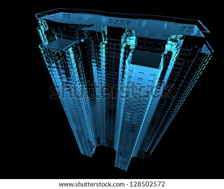 Skyscraper (3D x-ray blue transparent isolated on black) - stock photo