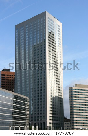 Skyscraper in famous financial and business district of Paris - La Defense.