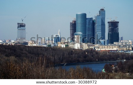 skyscraper in Moscow-city - stock photo