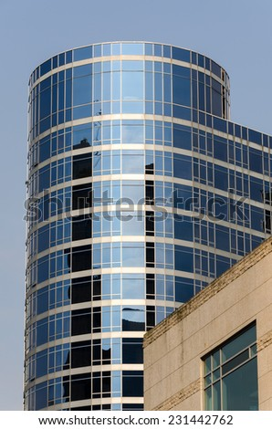 skyscraper of glass and mirrors in Vancouver - stock photo