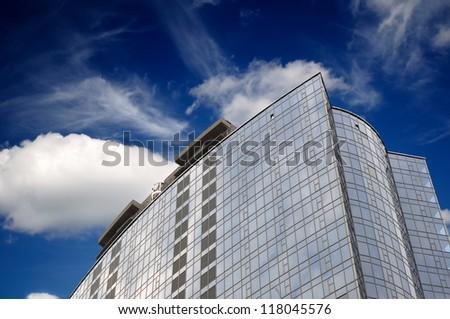 Skyscraper on Blue Sky Background - stock photo