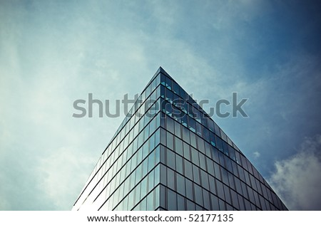 Skyscraper roof in the sky - stock photo