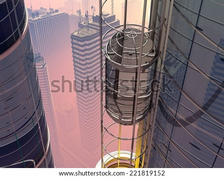 Skyscraper with elevator on city background. - stock photo