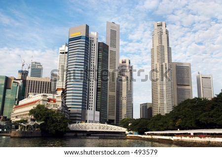 Skyscrapers along mouth of Singapore River