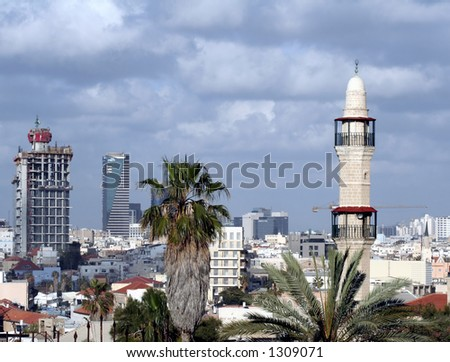 skyscrapers and a Mosque at the skyline of Tel-aviv, Israel