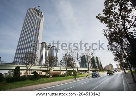 Skyscrapers and modern office buildings at Levent District in Istanbul, Turkey. - stock photo