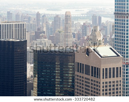 Skyscrapers and office buildings in midtown Manhattan - stock photo