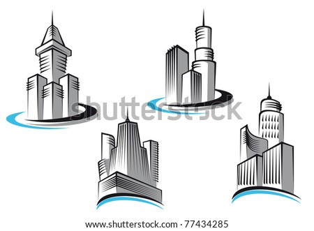Skyscrapers and real estate symbols for design and decorate or logo template. Vector version also available in gallery - stock photo