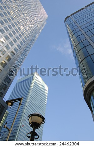 Skyscrapers at Canary Wharf in London, England