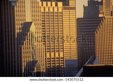 Skyscrapers at sunrise, Chicago, Illinois - stock photo