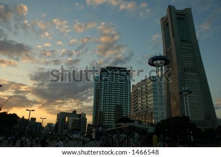Skyscrapers at sunset in Yokohama, Japan. - stock photo