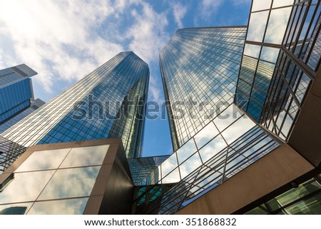 skyscrapers buildings in perspective - stock photo