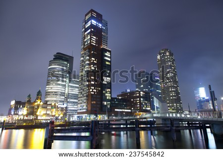 Skyscrapers cityscape  at night  - stock photo