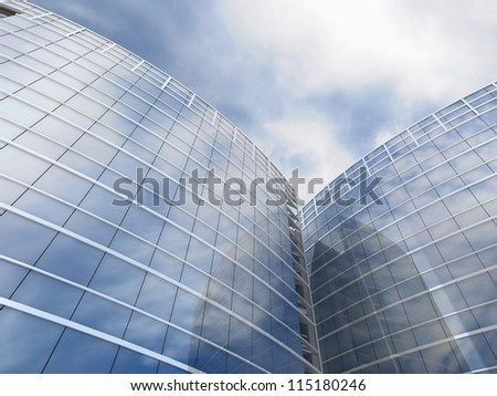Skyscrapers cloudscape background. 3D image. - stock photo