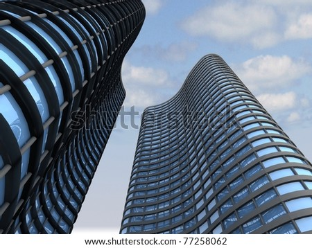 Skyscrapers.3d render. - stock photo