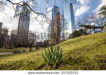 skyscrapers frankfurt am main in germany in the spring - stock photo