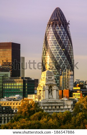 Skyscrapers in a city, 30 St Mary Axe, City Of London, London, England - stock photo