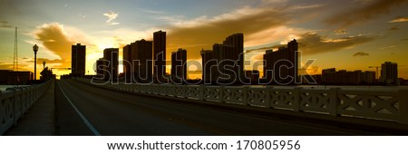 Skyscrapers in a city, Venetian Causeway, Venetian Islands, Biscayne Bay, Miami, Florida, USA - stock photo