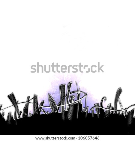 Skyscrapers in a strange city. Illustration background. - stock photo