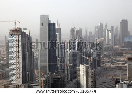 Skyscrapers in Business Bay - Dubai, United Arab Emirates - stock photo