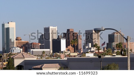Skyscrapers in Business Center of Phoenix Downtown, AZ - stock photo