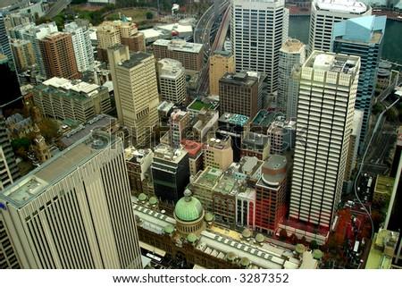Skyscrapers In City Sydney - stock photo