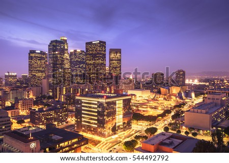 Skyscrapers in downtown Los Angeles California at night