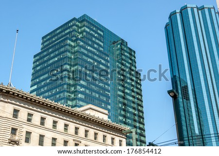Skyscrapers in Edmonton Alberta's city center. - stock photo